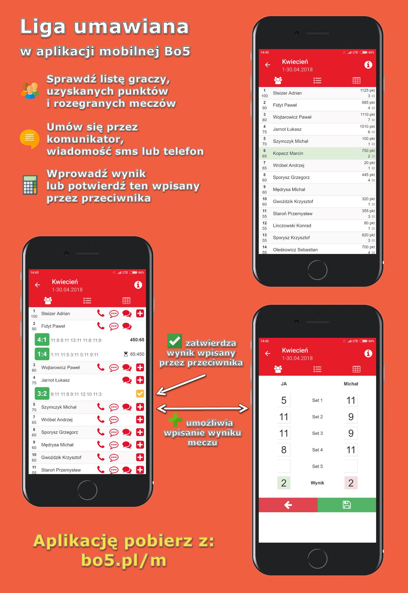 Liga umawiana w aplikacji mobilnej